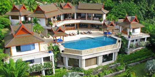 The elegant Sea View six-bedroom pool villa on the top of Surin Beach Hillside