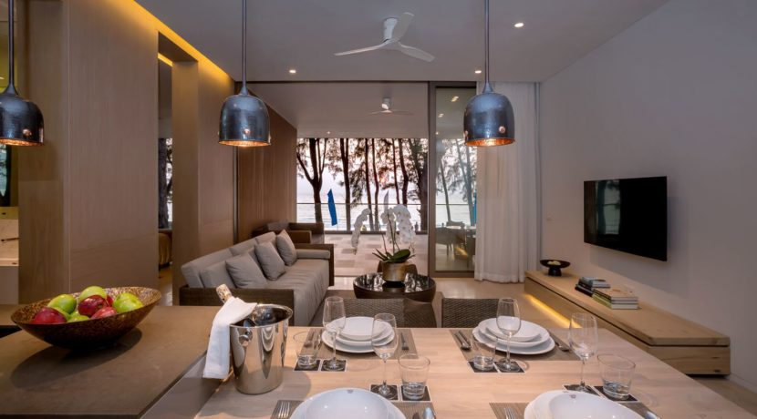 Twinpalms-Residences-MontAzure-One-Bedroom-Show-Suite-Kitchen-and-Living-Room-Sunset